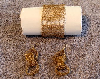 Gold Wire Crocheted Bracelet and Earrings