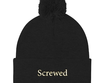 Screwed Pom Pom Knit Cap