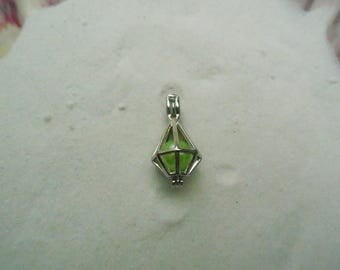 Dangle Diamond Cut Pearl Cage Pendant Necklace