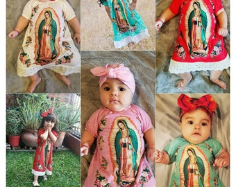 Virgin mary dress 0 months to 12 year with mexican red bow vestido de la Virgen de guadalupe