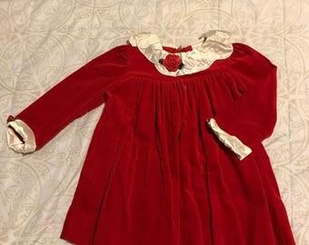 3T Red Cotton Velvet Dress