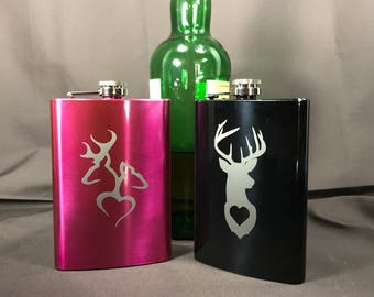 Personalized-Stainless Steel flask-gift for boyfriend-gift for girlfriend-deer head-Custom