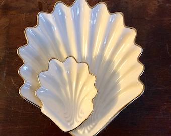 Vintage Atlantic Mold Sea Shell Mermaid Chip n' Dip Set