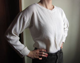 Large Boat Neck 100% Cotton Thermal Waffle Weave Shirt / Long Sleeve, 60s 70s, Long Underwear