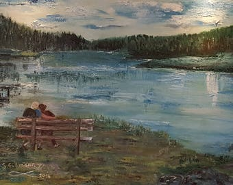 Digital photo from original painting, Couple on a bench, Romantic view, Norway