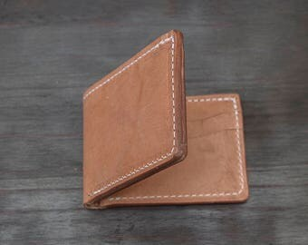 Old world harness full grain vegetable tanned leather bifold made in the USA