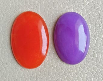 Beautiful Chinese 2 Pieces Oval Gemstone Set, Red And Purple Chinese Stone, Designer Jewellery Stone Size 38x26x7, 35x24x8, Weight 79 Crt.