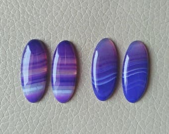 Purple and Blue Natural Botswana Agate Matching Pairs Gemstone, 43 Carat Designer Cabochon Gemstone, Beautiful Jewelry Pairs Gemstones.