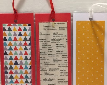 Laminated Boomarks Set of 3 , Bright colors, Kid themed, very fun.