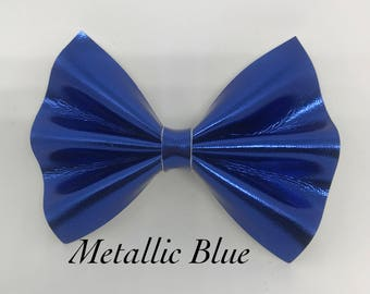 Metallic Blue- Faux Leather Bow