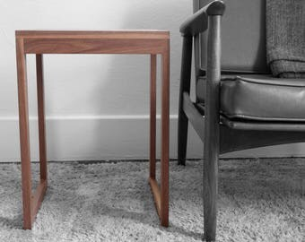 Side End Table Handcrafted Solid Wood Walnut