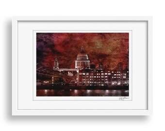 Crimson Cathedral - London, St Pauls Cathedral, Wall Art Print