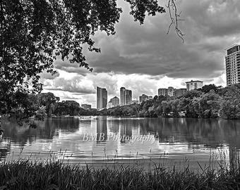 Milwaukee Skyline - Downtown Milwaukee - Veterans Park Lagoon - Black and White Print - Landscape Photography - Clouds - Trees - Reflection