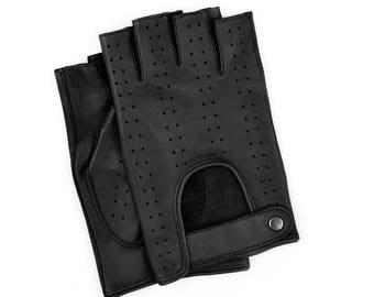 Black Leather Fingerless Driving Gloves for Man