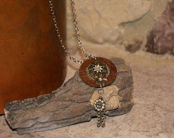 Rustic metal washer necklace with silver chain