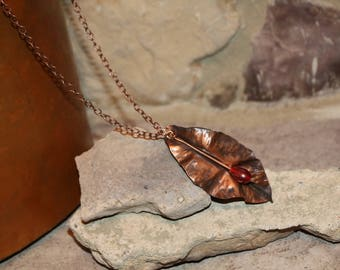 Copper leaf necklace with copper chain