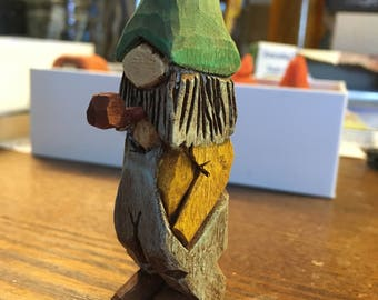 "Hand Crafted Carved Whittled Basswood ""Pipe Pa"" Character Figure"