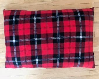 Doggie Z Dog Bed Pillow Cover, Red Plaid