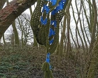 Handmade, crochet,woman shawl, cowl, scarf, wool, freestyle, green and blue, soft,