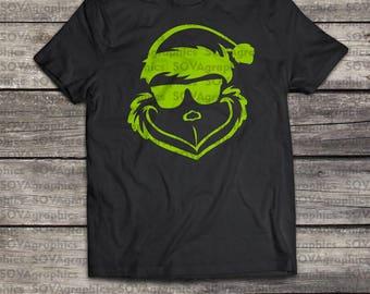 Grinch svg, Sunglass Grinch svg, Christmas grinch svg, Grinch face svg, Chritmas svg, Digital cut file, Winter svg, DXF, SVG, EPS,