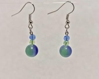 Blue Green Drop Bead Earrings