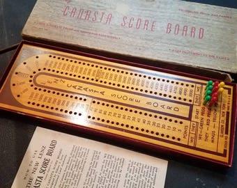 Vintage Lenz wooden Canasta score board