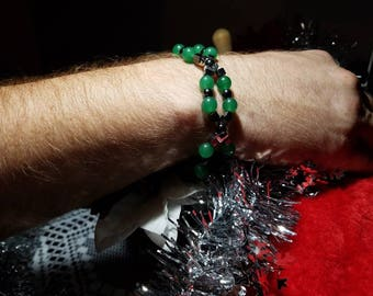 """Stunning Round Aventurine, with Round and Cubed Hematite Stretch Bracelet, 9"""" Length, Great Men's Gift!!!"""