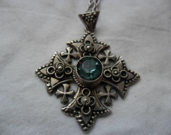 Silver Jeruselem cross pendant - necklace. Jordanian.