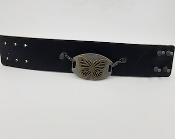 Black Leather bracelet with a butterfly charm