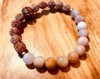 Sunstone and Rudraksha Mala Bracelet