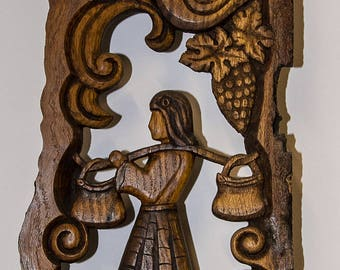 Ttraditional Bulgarian Woodcarving girl wall decor House Hand carved Wall panel Bird home decor Wooden gift Housewarming gift Wood relief 3D