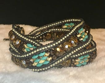 Large Amber, turquoise, & brown rustic 2x wrap