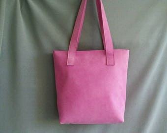 Leather shopper, pink leather bag, leather bag, handmade