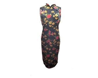 Floral Velvet Dress, 90s Midi Cheongsam Dress, Velour Fabric, Maggy London, Designer Signed Dress, Black with Flowers Long Asian Style Dress