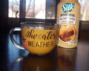 Sweater Weather// Glass// Clear Mug
