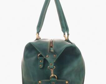 Leather Travel Duffle Bag Green Color DERBY Sport bag Gym bag Travel bag Weekender bag Holiday bag Carry-on Baggage Birthday Christmas Gift