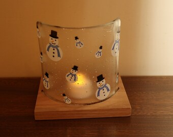 Handmade fused glass Christmas candle screen and handmade wooden stand