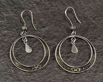 Black Filigree Circle Earrings handmade Silver