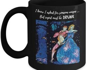 Sarcastic Coffee Mug Vintage Harry Clark Artwork Cupid Must Be Drunk Anti-Valentine's Day