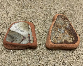 Sea Pottery Pieces * Brown Beach Pottery * Italian Pottery Shards * Vintage Home Decor * Natural Craft * Beach Finds