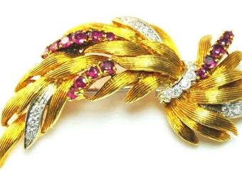 "Beautiful Vintage 18k Diamond and Ruby Floral Brooch Pin 796AL 2"" Long"