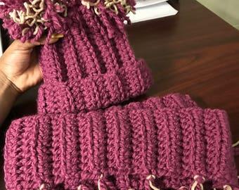 Crochet Hat & Scarf Set (Kids)
