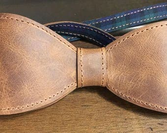 Greased Leather bow tie