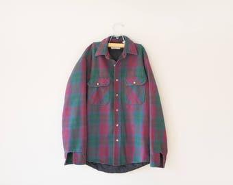Vintage Burgundy/Green Flannel // Vintage 1980's Mens Flannel  // Men's Lined Flannel // Size Medium // Made in USA // Private Property
