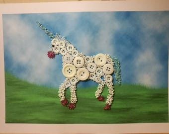 Unicorn button art