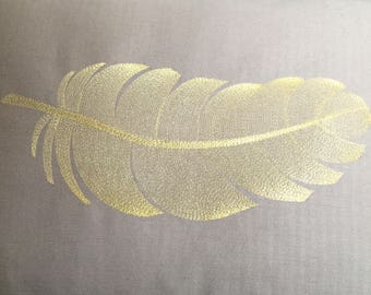 "Embroidered pillow cover ""gold leaf Feather"""