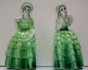 Pair of  Art Deco Katzhutte Crinoline Lady Book Ends