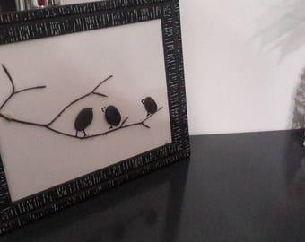Pebble birds painting