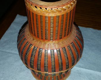 Vintage wicker & glass vase made in People's Republic of China