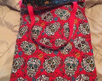 Handmade Reversible Sugar Skulls/Flowers Bag